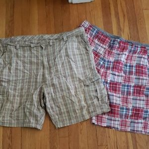 2 Pairs Men's Plaid Shorts Size 46